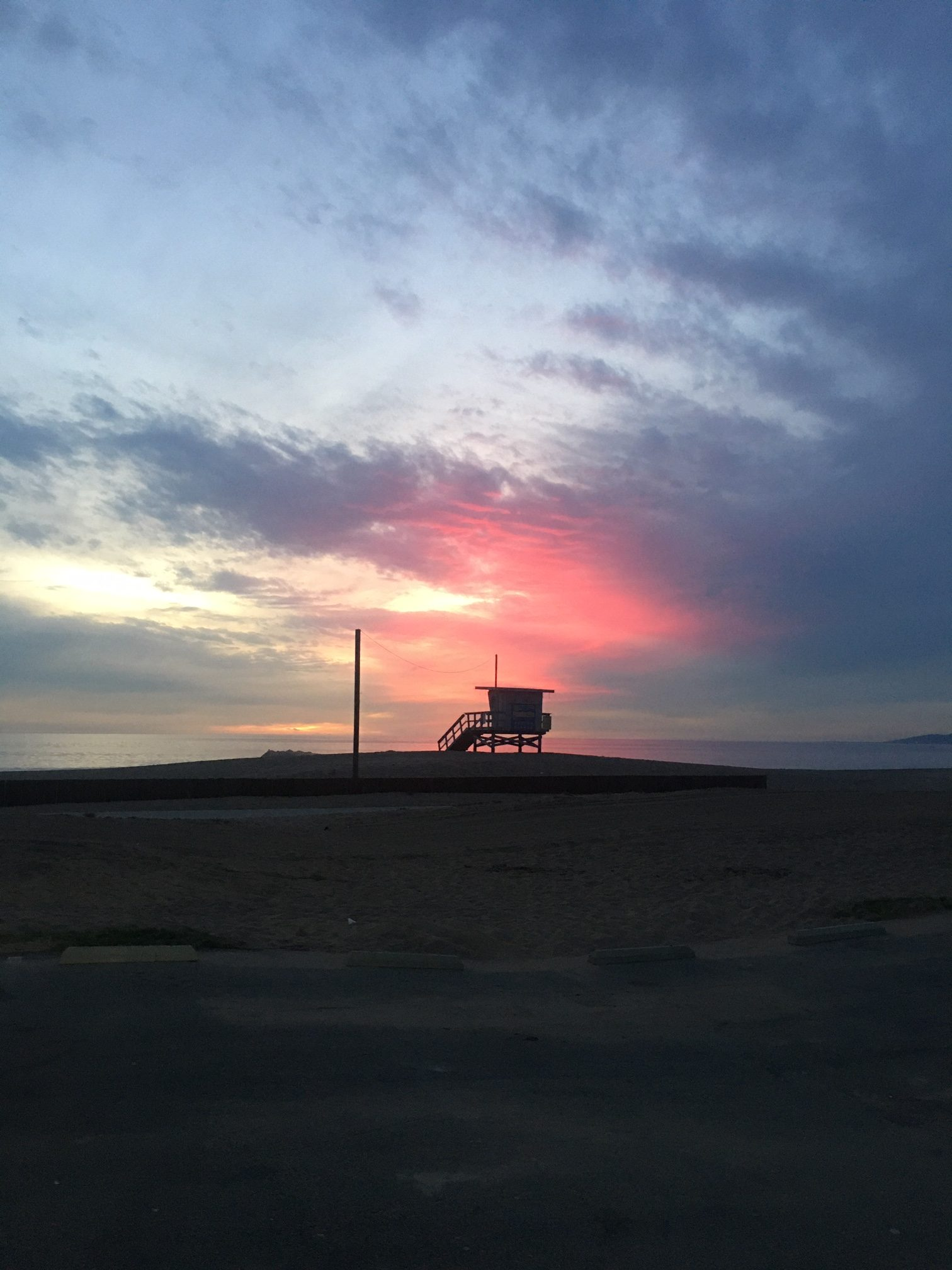 Sunset at Dockweiler Beach